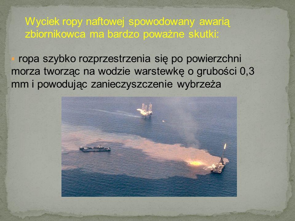  ropa szybko rozprzestrzenia się po powierzchni morza tworząc na wodzie warstewkę o grubości 0,3 mm i powodując zanieczyszczenie wybrzeża Wyciek ropy naftowej spowodowany awarią zbiornikowca ma bardzo poważne skutki: