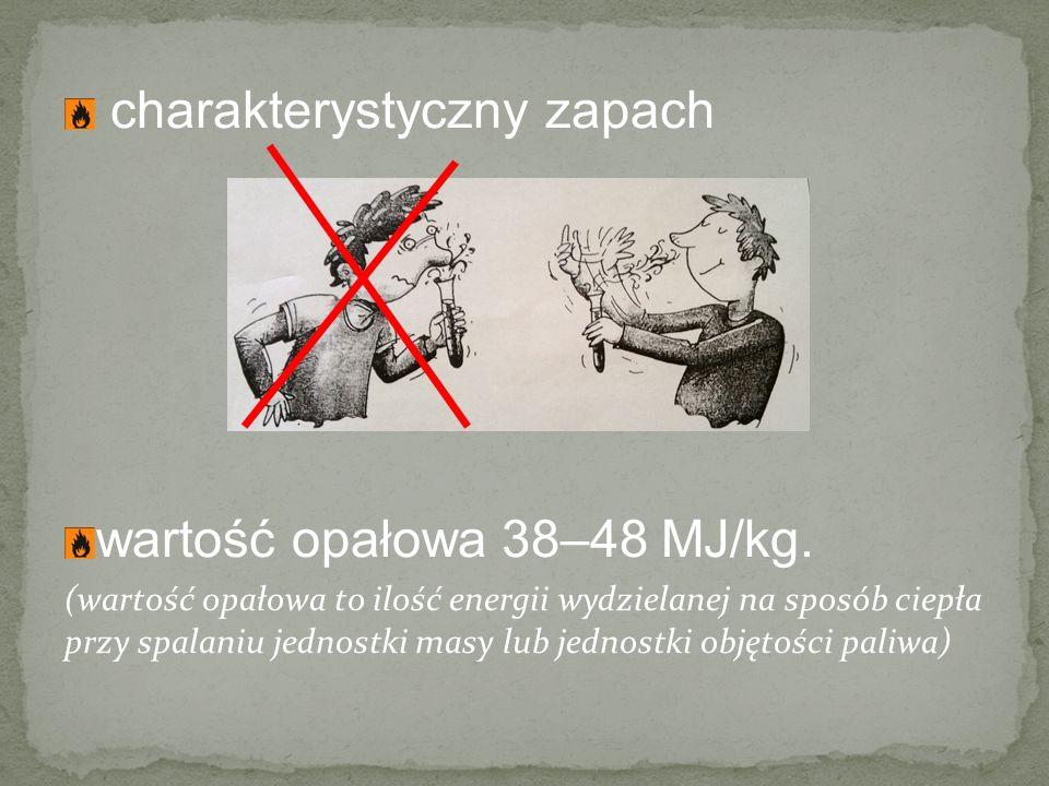charakterystyczny zapach wartość opałowa 38–48 MJ/kg.