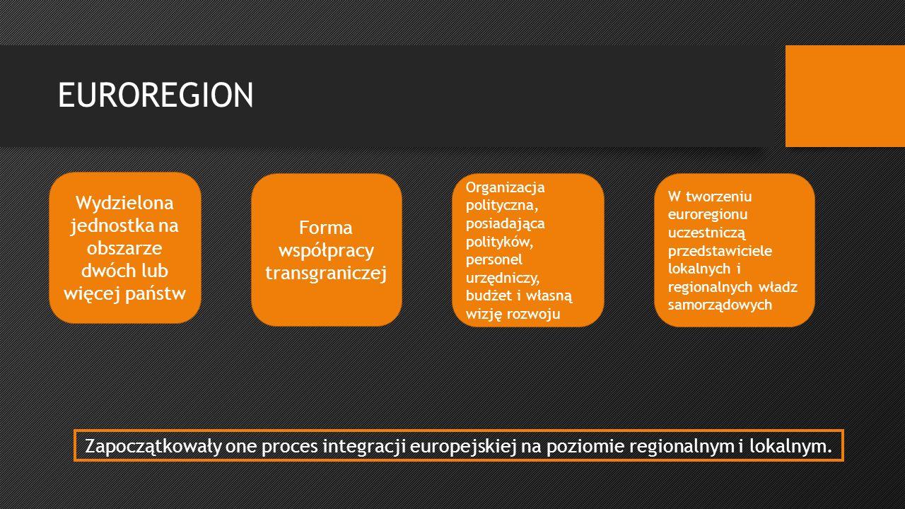 EUROREGION Zapoczątkowały one proces integracji europejskiej na poziomie regionalnym i lokalnym.