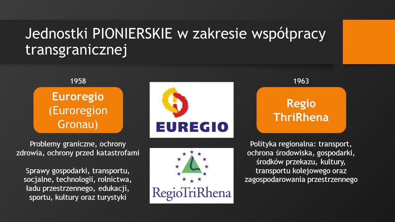 Jednostki PIONIERSKIE w zakresie współpracy transgranicznej Euroregio (Euroregion Gronau) Regio ThriRhena 19581963 Problemy graniczne, ochrony zdrowia, ochrony przed katastrofami Sprawy gospodarki, transportu, socjalne, technologii, rolnictwa, ładu przestrzennego, edukacji, sportu, kultury oraz turystyki Polityka regionalna: transport, ochrona środowiska, gospodarki, środków przekazu, kultury, transportu kolejowego oraz zagospodarowania przestrzennego