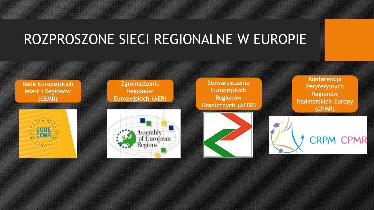 ROZPROSZONE SIECI REGIONALNE W EUROPIE Rada Europejskich Miast i Regionów (CEMR) Zgromadzenie Regionów Europejskich (AER) Stowarzyszenie Europejskich Regionów Granicznych (AEBR) Konferencja Peryferyjnych Regionów Nadmorskich Europy (CPMR)