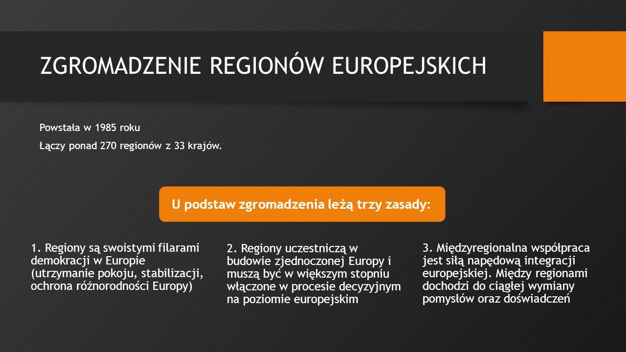 ZGROMADZENIE REGIONÓW EUROPEJSKICH Powstała w 1985 roku Łączy ponad 270 regionów z 33 krajów.