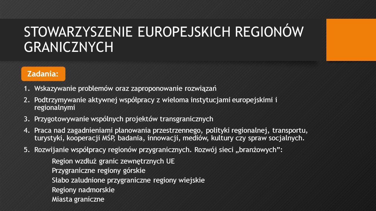 STOWARZYSZENIE EUROPEJSKICH REGIONÓW GRANICZNYCH 1.Wskazywanie problemów oraz zaproponowanie rozwiązań 2.Podtrzymywanie aktywnej współpracy z wieloma instytucjami europejskimi i regionalnymi 3.Przygotowywanie wspólnych projektów transgranicznych 4.Praca nad zagadnieniami planowania przestrzennego, polityki regionalnej, transportu, turystyki, kooperacji MŚP, badania, innowacji, mediów, kultury czy spraw socjalnych.