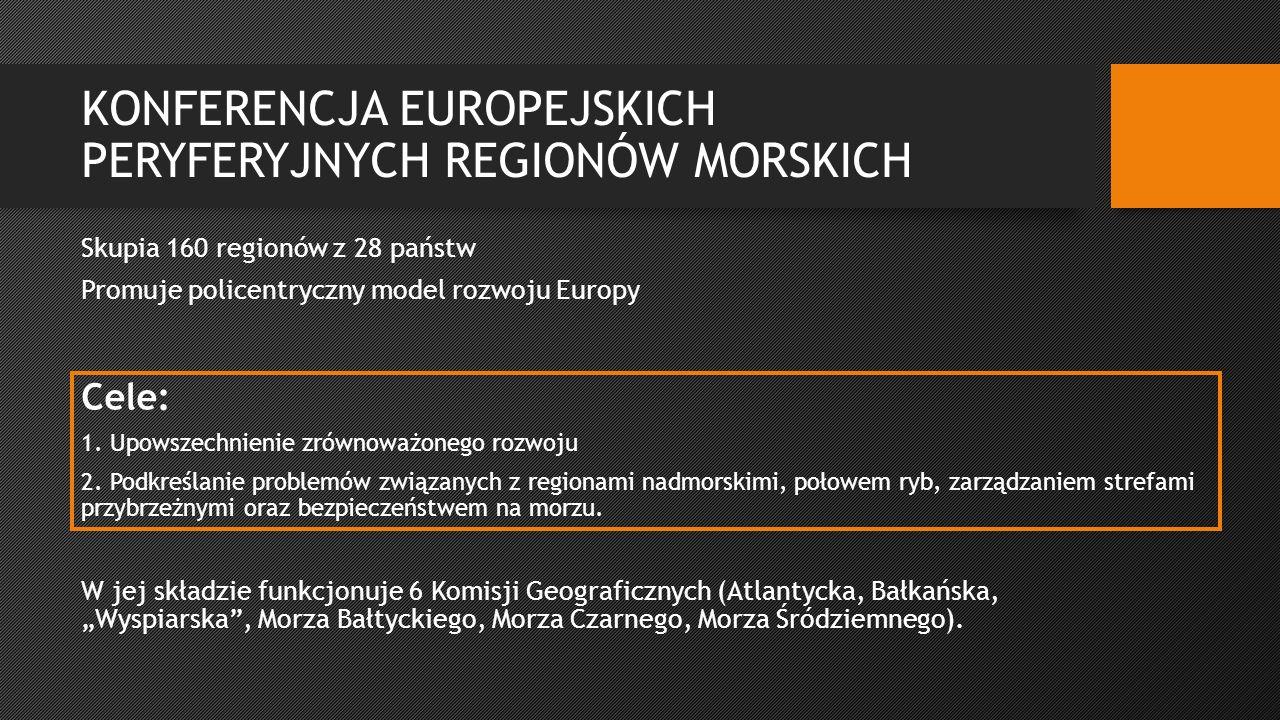 """KONFERENCJA EUROPEJSKICH PERYFERYJNYCH REGIONÓW MORSKICH Skupia 160 regionów z 28 państw Promuje policentryczny model rozwoju Europy W jej składzie funkcjonuje 6 Komisji Geograficznych (Atlantycka, Bałkańska, """"Wyspiarska , Morza Bałtyckiego, Morza Czarnego, Morza Śródziemnego)."""