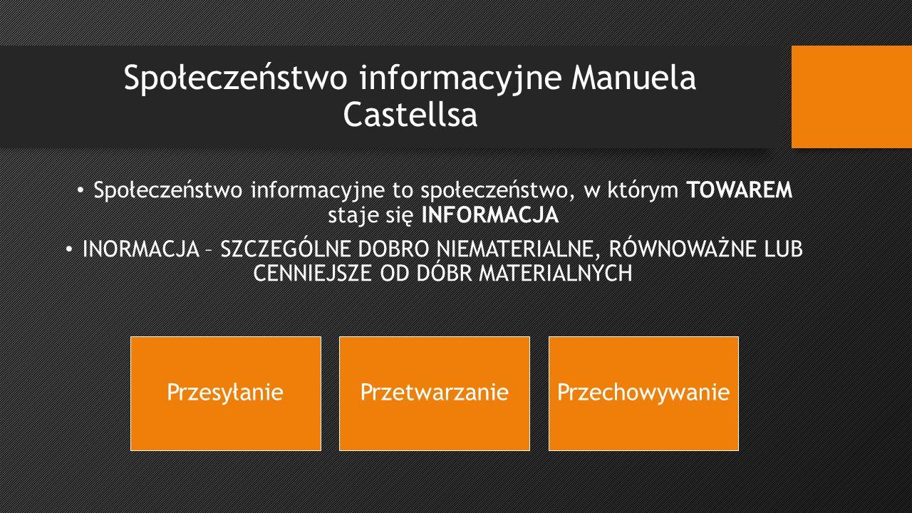 Społeczeństwo informacyjne Manuela Castellsa Społeczeństwo informacyjne to społeczeństwo, w którym TOWAREM staje się INFORMACJA INORMACJA – SZCZEGÓLNE DOBRO NIEMATERIALNE, RÓWNOWAŻNE LUB CENNIEJSZE OD DÓBR MATERIALNYCH PrzesyłaniePrzetwarzaniePrzechowywanie
