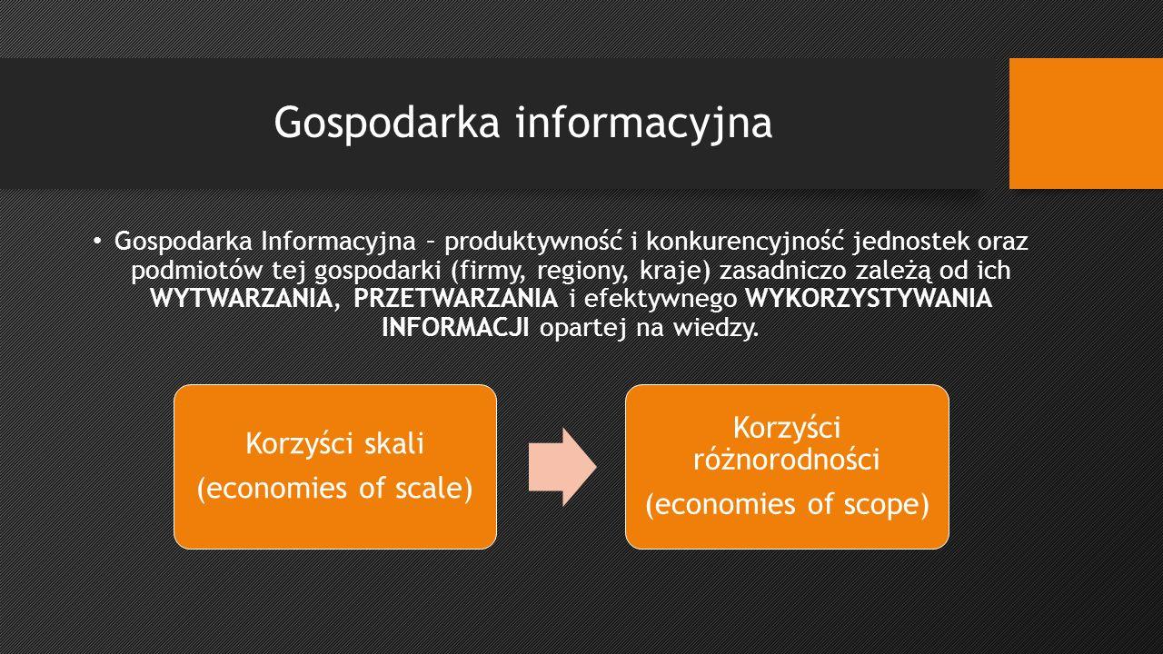 Gospodarka informacyjna Gospodarka Informacyjna – produktywność i konkurencyjność jednostek oraz podmiotów tej gospodarki (firmy, regiony, kraje) zasadniczo zależą od ich WYTWARZANIA, PRZETWARZANIA i efektywnego WYKORZYSTYWANIA INFORMACJI opartej na wiedzy.