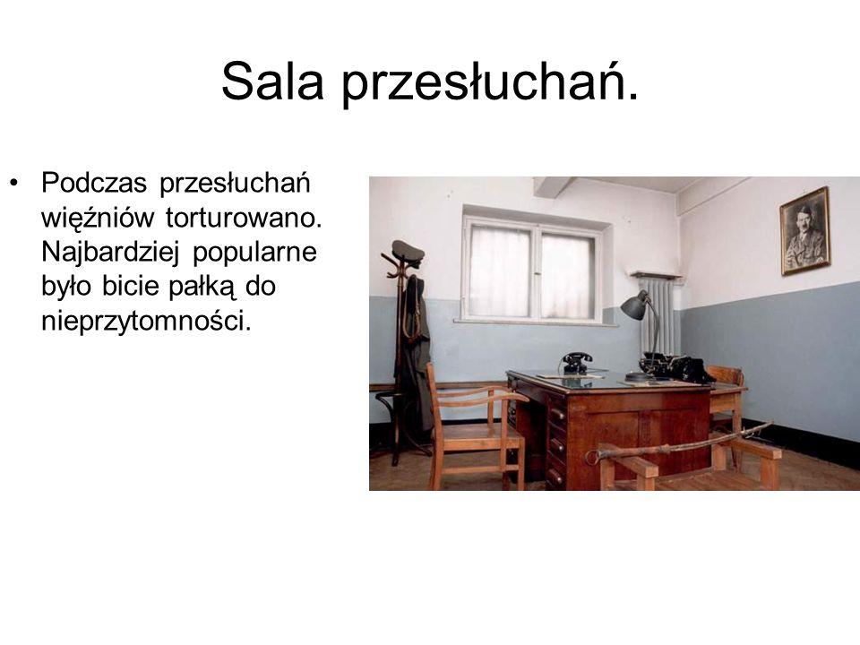 Sala przesłuchań.Podczas przesłuchań więźniów torturowano.