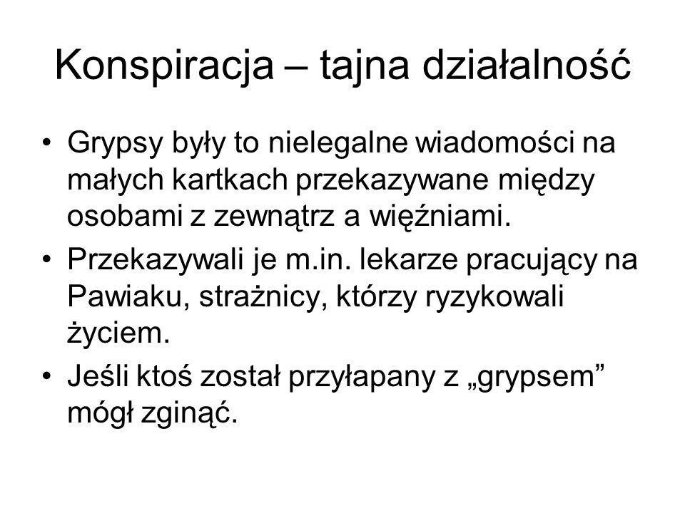 Konspiracja – tajna działalność Grypsy były to nielegalne wiadomości na małych kartkach przekazywane między osobami z zewnątrz a więźniami.