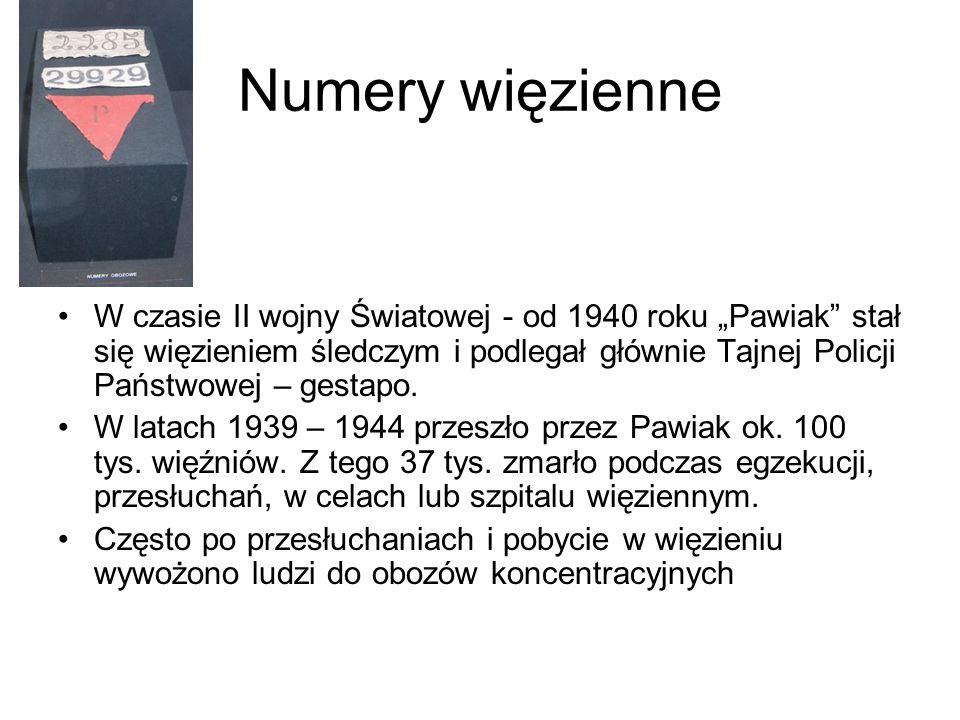 """Numery więzienne W czasie II wojny Światowej - od 1940 roku """"Pawiak stał się więzieniem śledczym i podlegał głównie Tajnej Policji Państwowej – gestapo."""