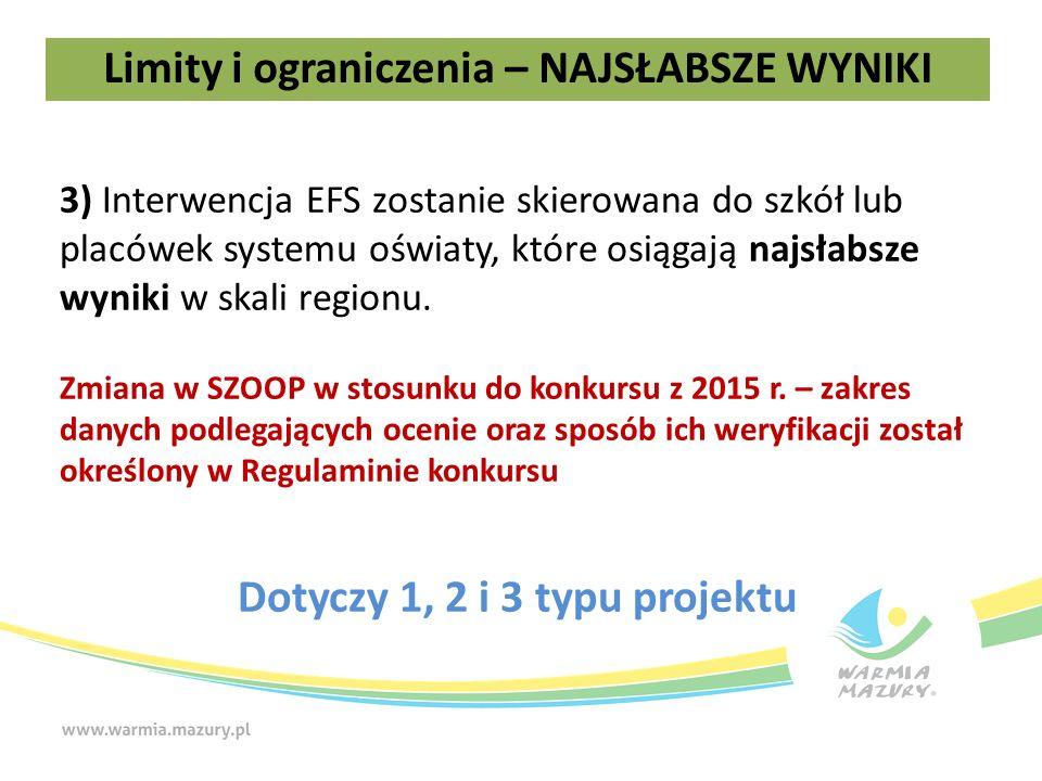 3) Interwencja EFS zostanie skierowana do szkół lub placówek systemu oświaty, które osiągają najsłabsze wyniki w skali regionu.