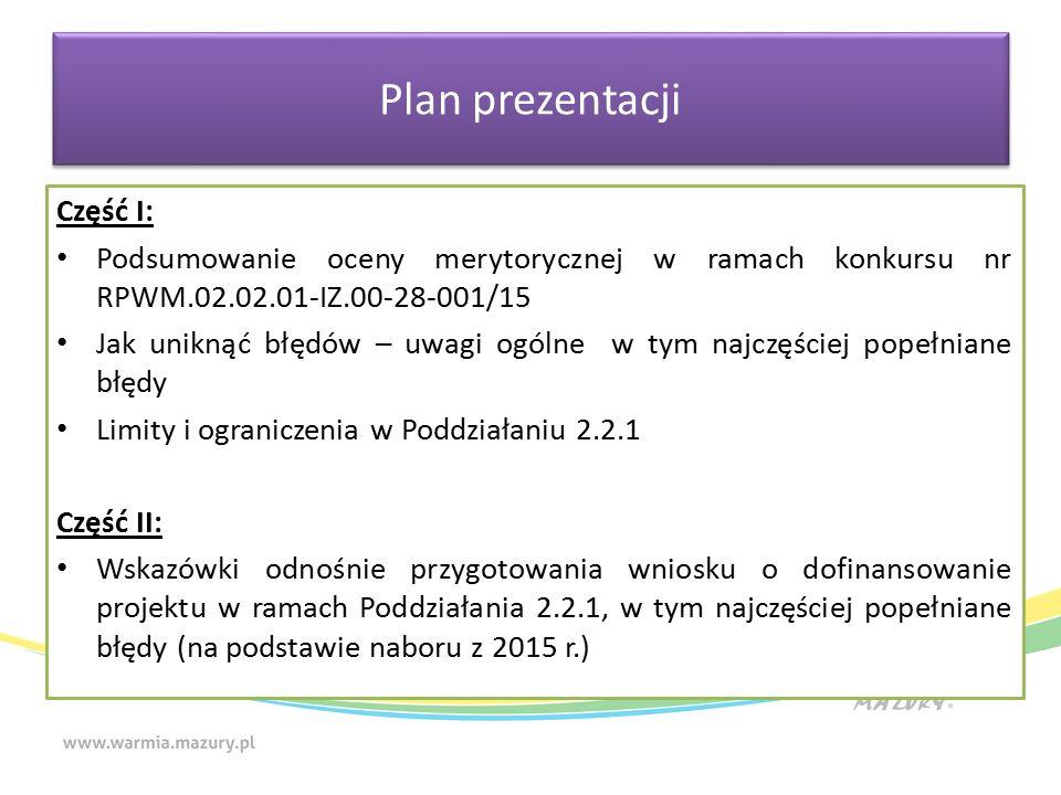 Część I: Podsumowanie oceny merytorycznej w ramach konkursu nr RPWM.02.02.01-IZ.00-28-001/15 Jak uniknąć błędów – uwagi ogólne w tym najczęściej popełniane błędy Limity i ograniczenia w Poddziałaniu 2.2.1