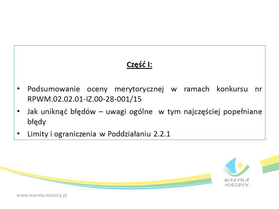 Podsumowanie oceny merytorycznej w ramach konkursu nr RPWM.02.02.01-IZ.00-28-001/15 Do oceny merytorycznej przekazano 46 projektów: -2 projekty zostały skierowane do dofinansowania, 44 projekty otrzymały ocenę negatywną: -14 projektów otrzymało punktację poniżej 60%, -30 projektów otrzymało negatywną ocenę w tym:
