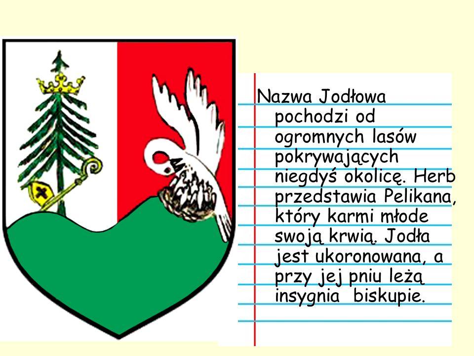 Nazwa Jodłowa pochodzi od ogromnych lasów pokrywających niegdyś okolicę. Herb przedstawia Pelikana, który karmi młode swoją krwią. Jodła jest ukoronow