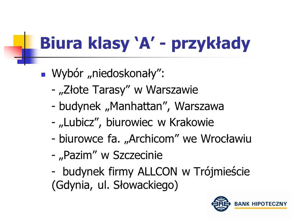 """Biura klasy 'A' - przykłady Wybór """"niedoskonały : - """"Złote Tarasy w Warszawie - budynek """"Manhattan , Warszawa - """"Lubicz , biurowiec w Krakowie - biurowce fa."""