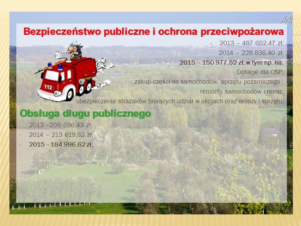 Bezpieczeństwo publiczne i ochrona przeciwpożarowaBezpieczeństwo publiczne i ochrona przeciwpożarowa  2013 – 487 652,47 zł;  2014 – 228 836,40 zł:  2015 – 150 977,52 zł; w tym np.