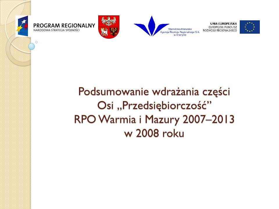 """Podsumowanie wdrażania części Osi """"Przedsiębiorczość RPO Warmia i Mazury 2007–2013 w 2008 roku"""