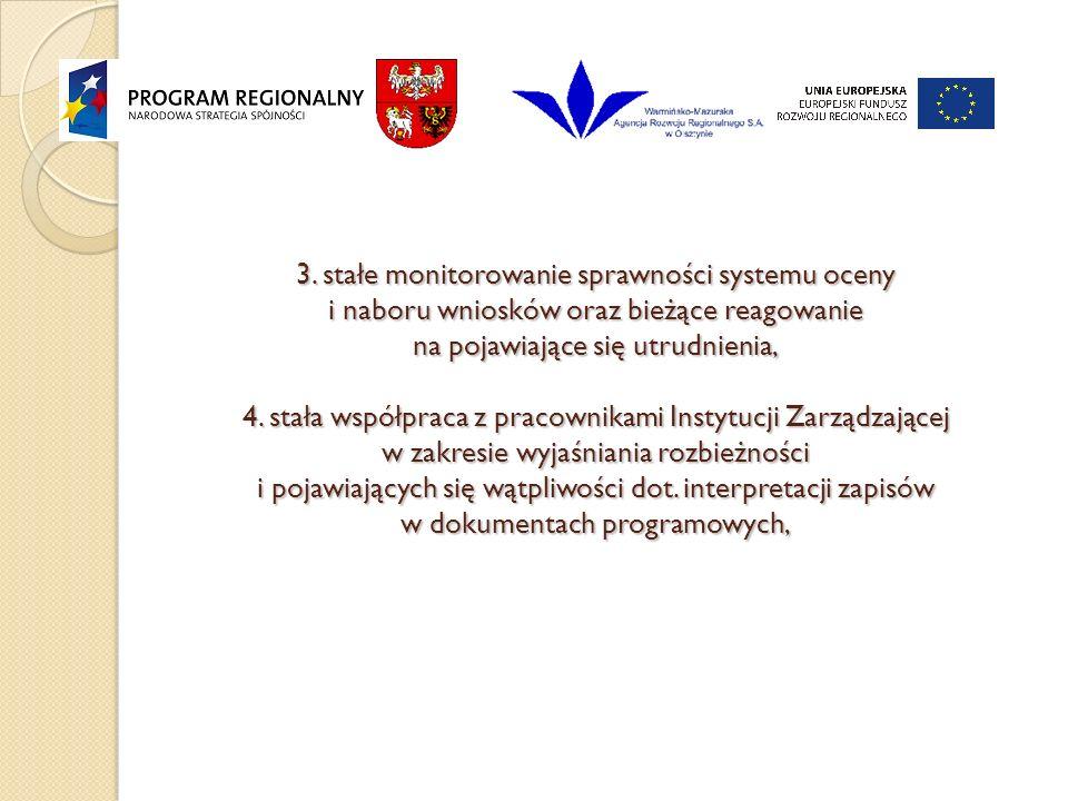 3. stałe monitorowanie sprawności systemu oceny i naboru wniosków oraz bieżące reagowanie na pojawiające się utrudnienia, 4. stała współpraca z pracow