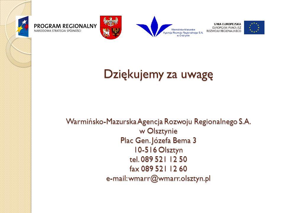 Dziękujemy za uwagę Warmińsko-Mazurska Agencja Rozwoju Regionalnego S.A.