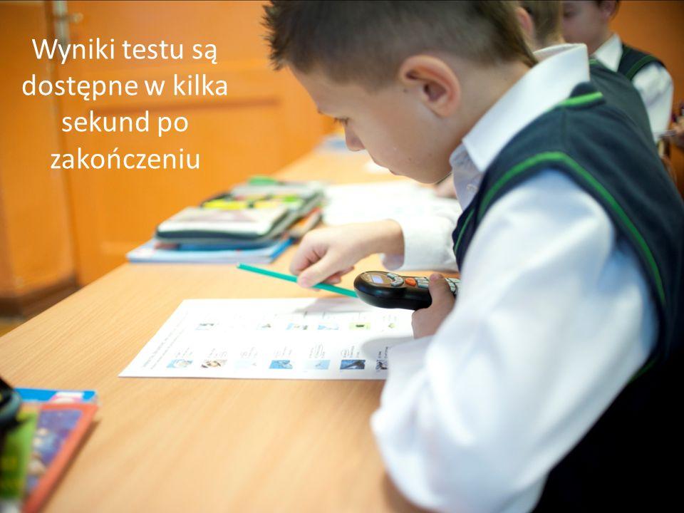 Wyniki testu są dostępne w kilka sekund po zakończeniu