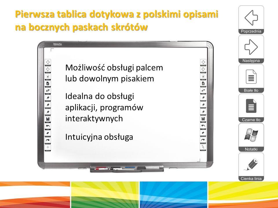 Pierwsza tablica dotykowa z polskimi opisami na bocznych paskach skrótów Możliwość obsługi palcem lub dowolnym pisakiem Idealna do obsługi aplikacji, programów interaktywnych Intuicyjna obsługa