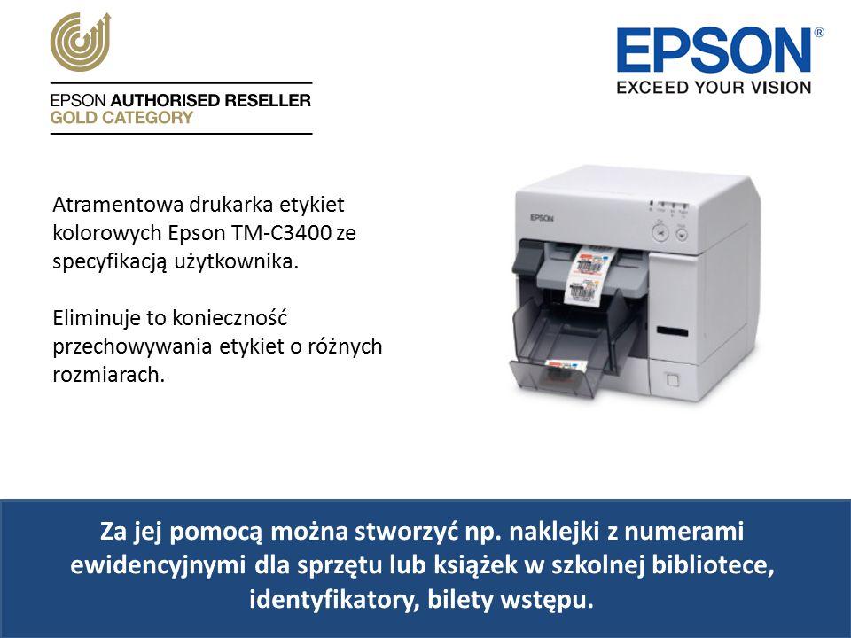 Atramentowa drukarka etykiet kolorowych Epson TM-C3400 ze specyfikacją użytkownika.