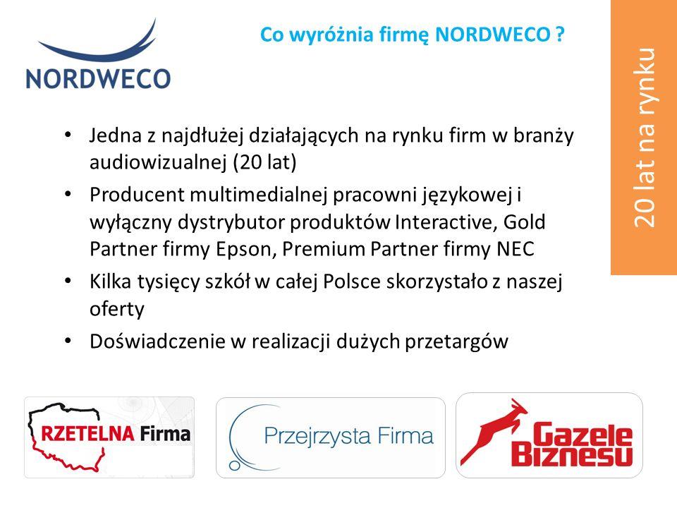 Jedna z najdłużej działających na rynku firm w branży audiowizualnej (20 lat) Producent multimedialnej pracowni językowej i wyłączny dystrybutor produktów Interactive, Gold Partner firmy Epson, Premium Partner firmy NEC Kilka tysięcy szkół w całej Polsce skorzystało z naszej oferty Doświadczenie w realizacji dużych przetargów Co wyróżnia firmę NORDWECO .