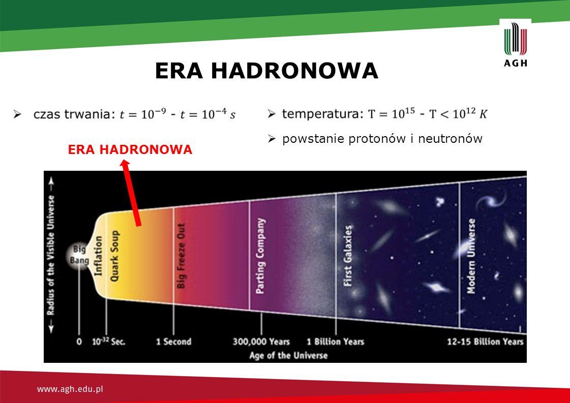 ERA HADRONOWA  powstanie protonów i neutronów