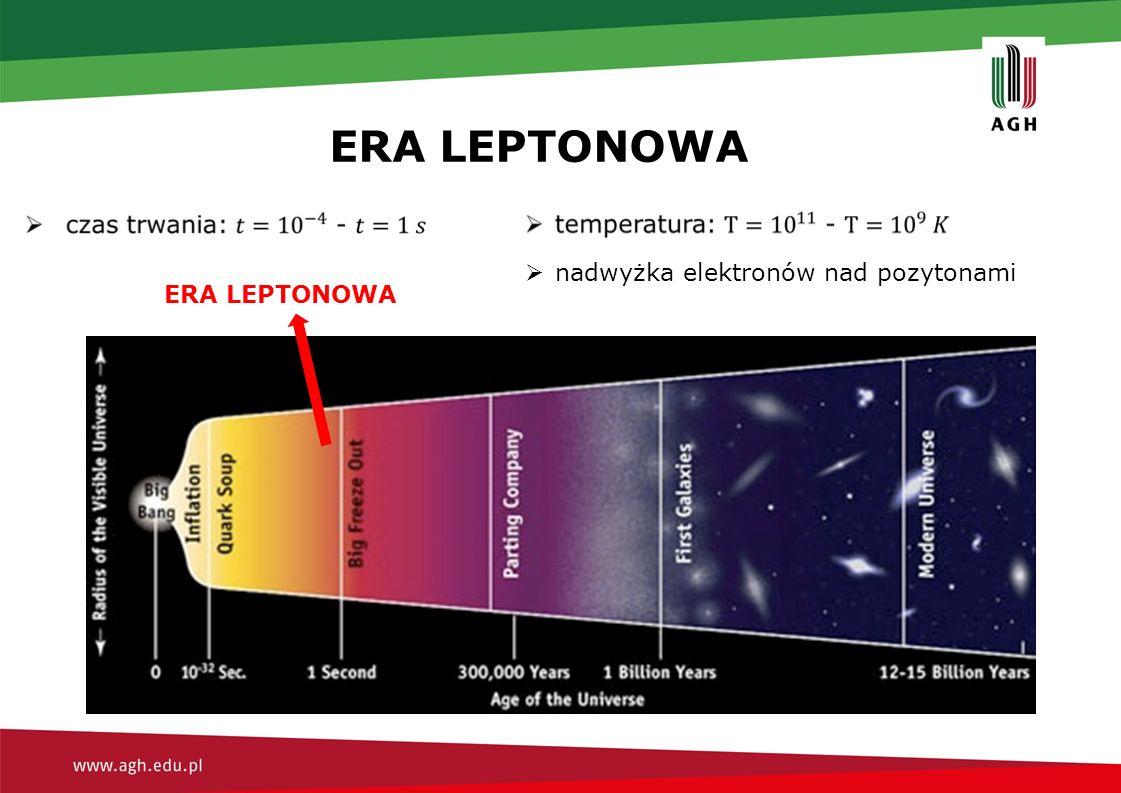 ERA LEPTONOWA  nadwyżka elektronów nad pozytonami