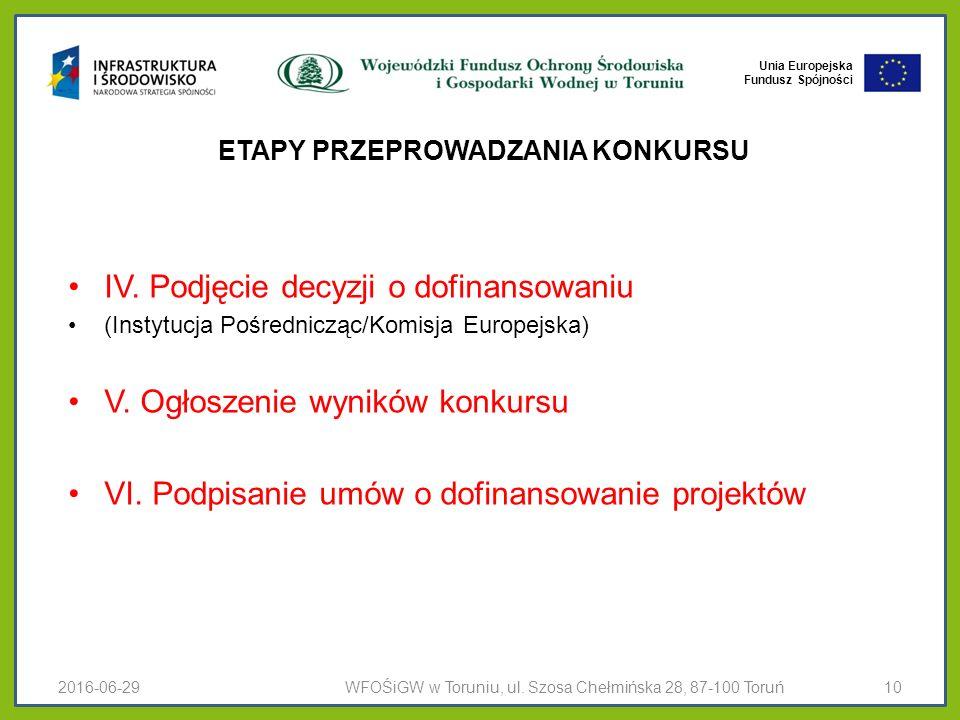Unia Europejska Fundusz Spójności ETAPY PRZEPROWADZANIA KONKURSU IV.