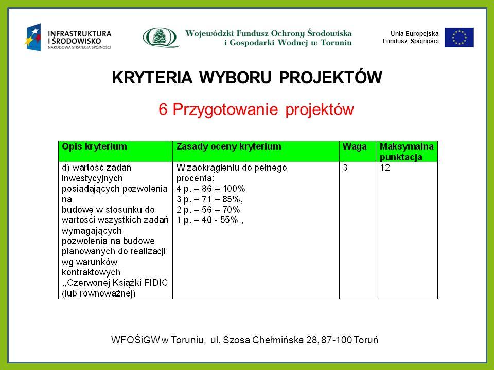 Unia Europejska Fundusz Spójności KRYTERIA WYBORU PROJEKTÓW 6 Przygotowanie projektów WFOŚiGW w Toruniu, ul.