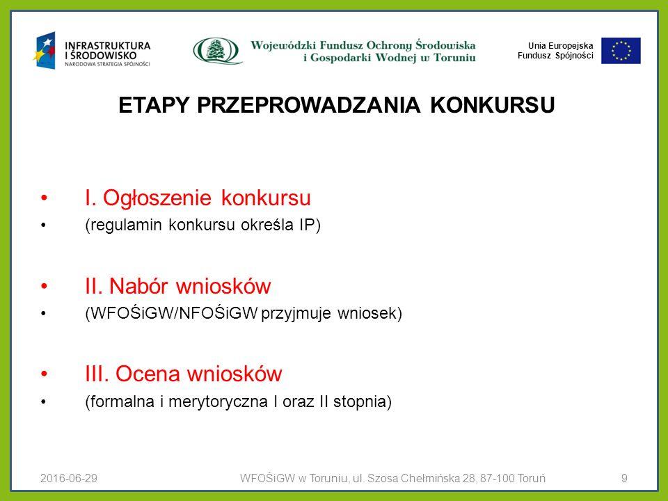 Unia Europejska Fundusz Spójności ETAPY PRZEPROWADZANIA KONKURSU I.