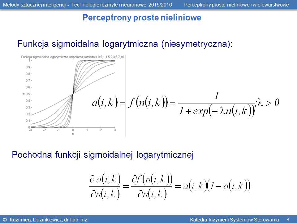 Metody sztucznej inteligencji - Technologie rozmyte i neuronowe 2015/2016 Perceptrony proste nieliniowe i wielowarstwowe © Kazimierz Duzinkiewicz, dr hab.