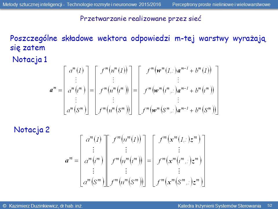 Metody sztucznej inteligencji - Technologie rozmyte i neuronowe 2015/2016 Perceptrony proste nieliniowe i wielowarstwowe © Kazimierz Duzinkiewicz, dr