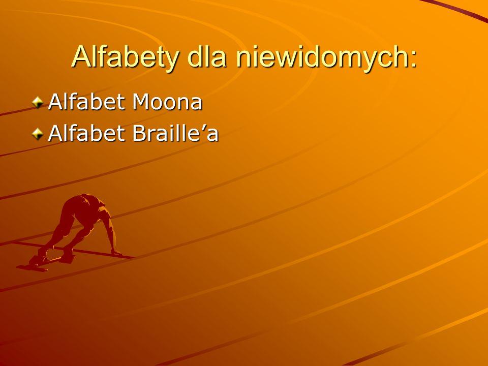 Alfabety dla niewidomych: Alfabet Moona Alfabet Braille'a