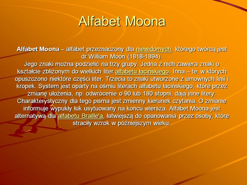 Alfabet Moona Alfabet Moona – alfabet przeznaczony dla n n n n n iiii eeee wwww iiii dddd oooo mmmm yyyy cccc hhhh, którego twórcą jest dr William Moon (1818-1894).
