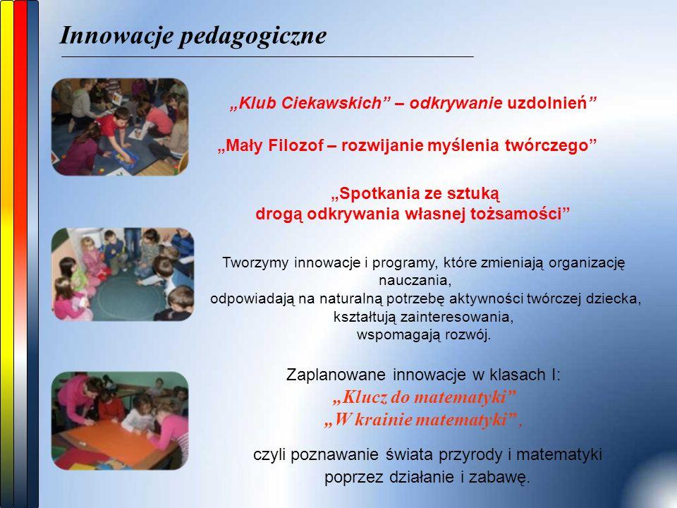 """Innowacje pedagogiczne """"Mały Filozof – rozwijanie myślenia twórczego """"Klub Ciekawskich – odkrywanie uzdolnień Tworzymy innowacje i programy, które zmieniają organizację nauczania, odpowiadają na naturalną potrzebę aktywności twórczej dziecka, kształtują zainteresowania, wspomagają rozwój."""