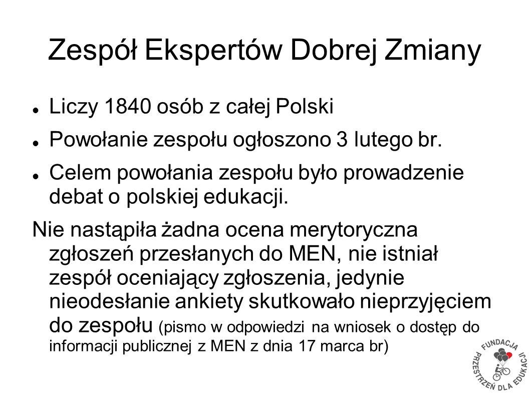 Zespół Ekspertów Dobrej Zmiany Liczy 1840 osób z całej Polski Powołanie zespołu ogłoszono 3 lutego br. Celem powołania zespołu było prowadzenie debat