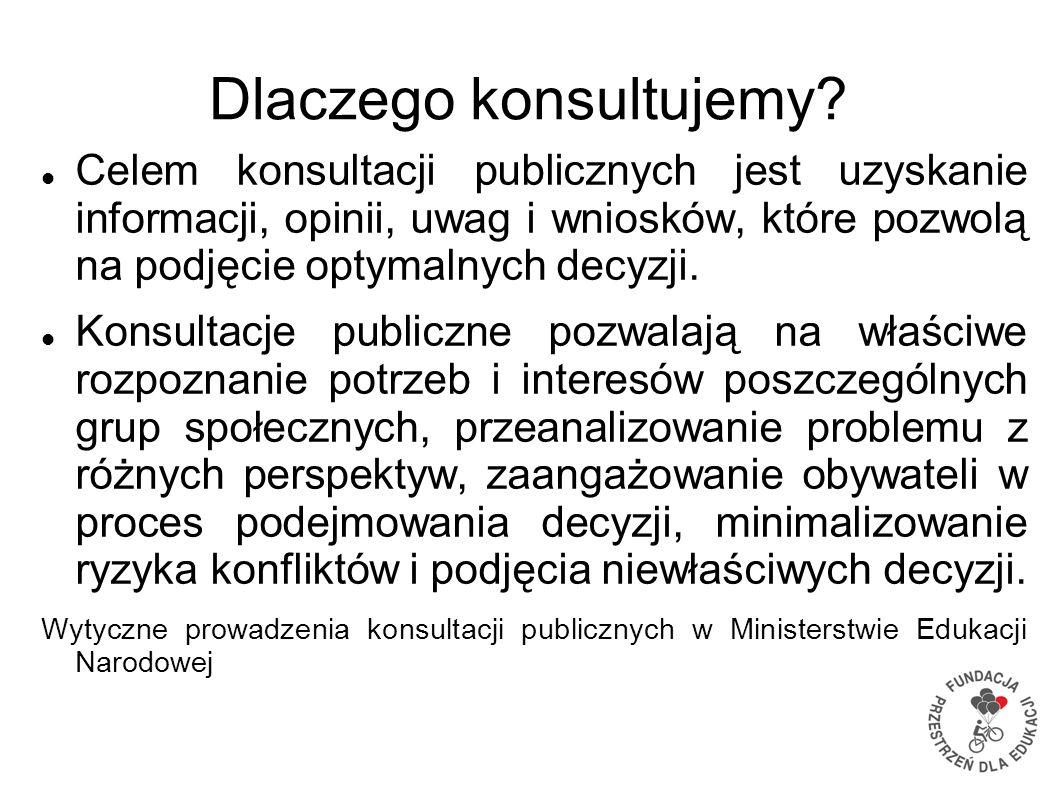 Dlaczego konsultujemy? Celem konsultacji publicznych jest uzyskanie informacji, opinii, uwag i wniosków, które pozwolą na podjęcie optymalnych decyzji