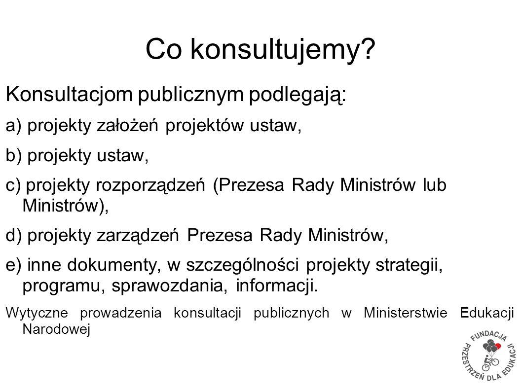 Co konsultujemy? Konsultacjom publicznym podlegają: a) projekty założeń projektów ustaw, b) projekty ustaw, c) projekty rozporządzeń (Prezesa Rady Min