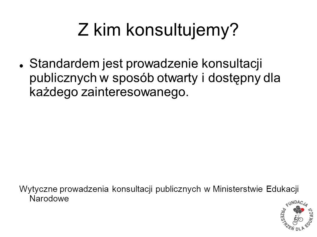 Z kim konsultujemy? Standardem jest prowadzenie konsultacji publicznych w sposób otwarty i dostępny dla każdego zainteresowanego. Wytyczne prowadzenia