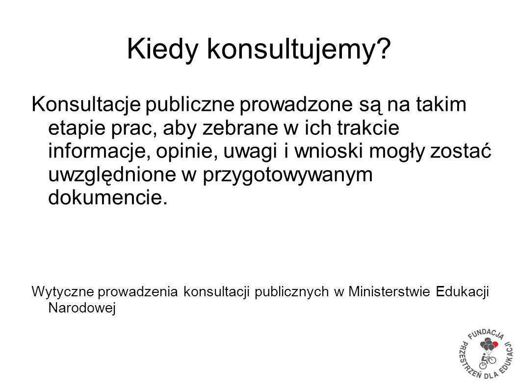 Kiedy konsultujemy? Konsultacje publiczne prowadzone są na takim etapie prac, aby zebrane w ich trakcie informacje, opinie, uwagi i wnioski mogły zost