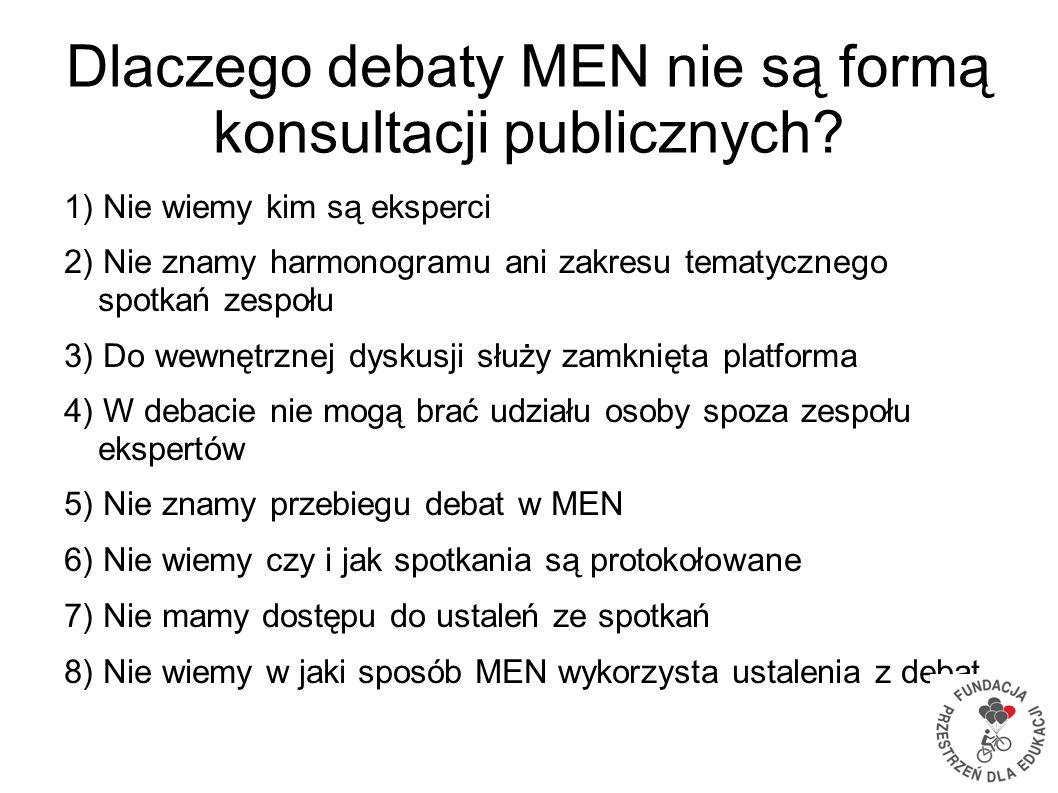 Dlaczego debaty MEN nie są formą konsultacji publicznych? 1) Nie wiemy kim są eksperci 2) Nie znamy harmonogramu ani zakresu tematycznego spotkań zesp