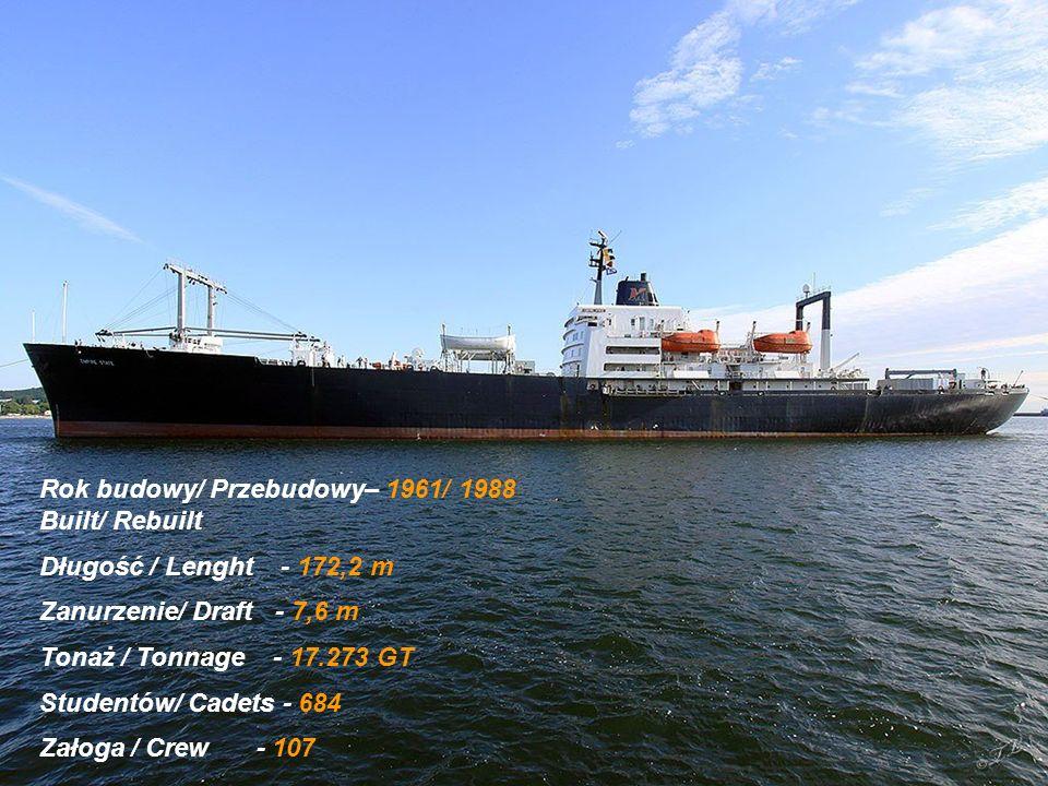 Rok budowy/ Przebudowy– 1961/ 1988 Built/ Rebuilt Długość / Lenght - 172,2 m Zanurzenie/ Draft - 7,6 m Tonaż / Tonnage - 17.273 GT Studentów/ Cadets - 684 Załoga / Crew - 107