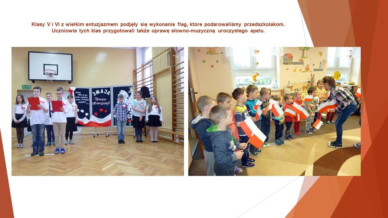 Klasy V i VI z wielkim entuzjazmem podjęły się wykonania flag, które podarowaliśmy przedszkolakom.