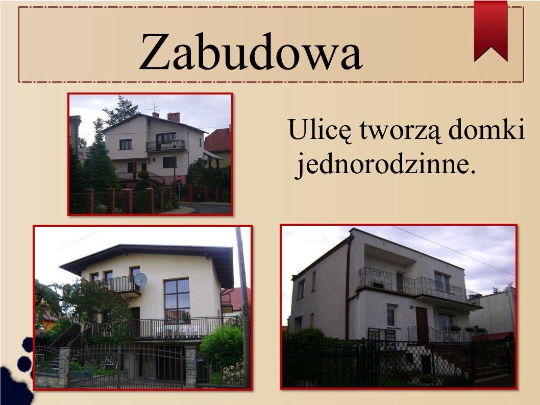 Zabudowa Ulicę tworzą domki jednorodzinne.