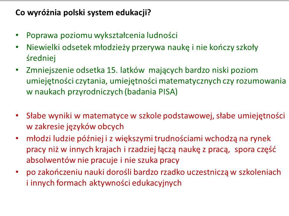 Co wyróżnia polski system edukacji? Poprawa poziomu wykształcenia ludności Niewielki odsetek młodzieży przerywa naukę i nie kończy szkoły średniej Zmn