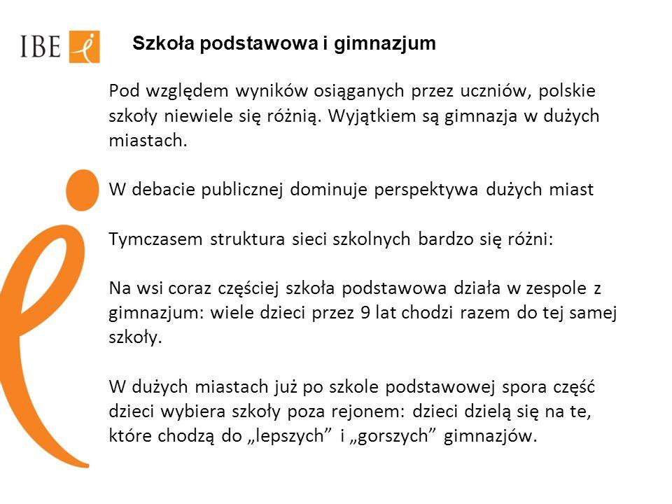 Szkoła podstawowa i gimnazjum Pod względem wyników osiąganych przez uczniów, polskie szkoły niewiele się różnią. Wyjątkiem są gimnazja w dużych miasta