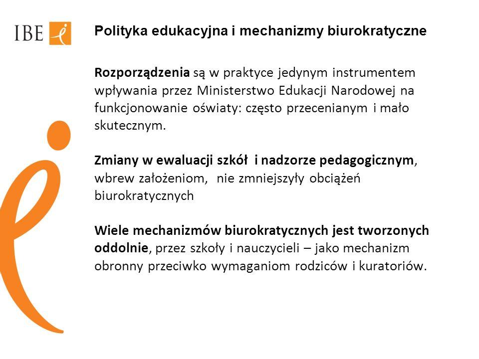Polityka edukacyjna i mechanizmy biurokratyczne Rozporządzenia są w praktyce jedynym instrumentem wpływania przez Ministerstwo Edukacji Narodowej na f