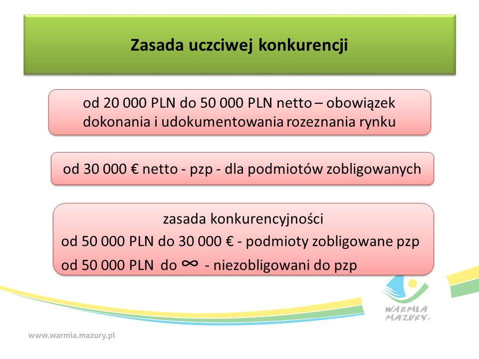 Zasada uczciwej konkurencji od 20 000 PLN do 50 000 PLN netto – obowiązek dokonania i udokumentowania rozeznania rynku od 30 000 € netto - pzp - dla podmiotów zobligowanych zasada konkurencyjności od 50 000 PLN do 30 000 € - podmioty zobligowane pzp od 50 000 PLN do ∞ - niezobligowani do pzp zasada konkurencyjności od 50 000 PLN do 30 000 € - podmioty zobligowane pzp od 50 000 PLN do ∞ - niezobligowani do pzp