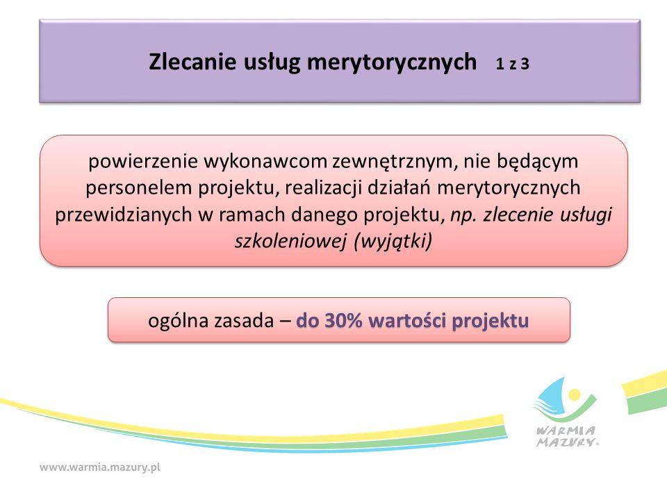 Zlecanie usług merytorycznych 1 z 3 powierzenie wykonawcom zewnętrznym, nie będącym personelem projektu, realizacji działań merytorycznych przewidzianych w ramach danego projektu, np.